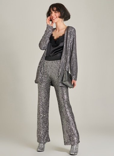 Agenda Payet İşlemeli Beli Lastikli Pantolon Gümüş